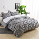 Ucharge Unique Pinch Pleat Pintuck Duvet Cover Set,3 Pieces Decorative Stylish Brushed Microfiber Bedding Set With Zipper and Corner Ties (Queen Grey)