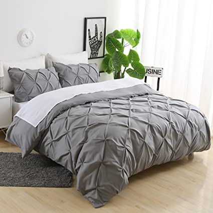 Ucharge Unique Pinch Pleat Pintuck Duvet Cover Set,3 Pieces Decorative  Stylish Brushed Microfiber Bedding