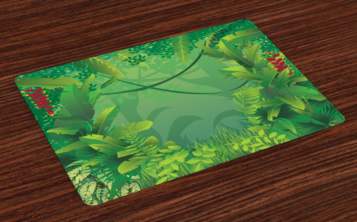 Green Placemats Set of 4 by Ambesonne Washable Fabric Place Mats for Table Decor