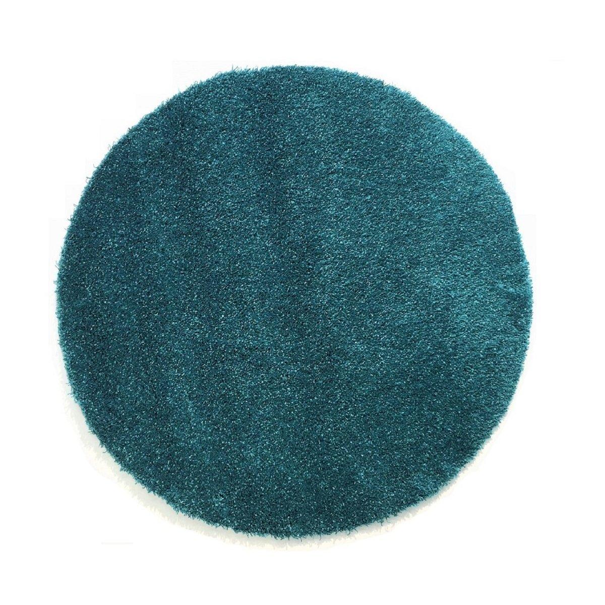 Komfort Shaggy Teppich Badematte Happy Wash rund - waschbar, trocknerund pflegeleicht   schadstoffgeprüft & strapazierfähig   ideal für Bad Badezimmer, Farbe Türkis, Größe 240 cm rund