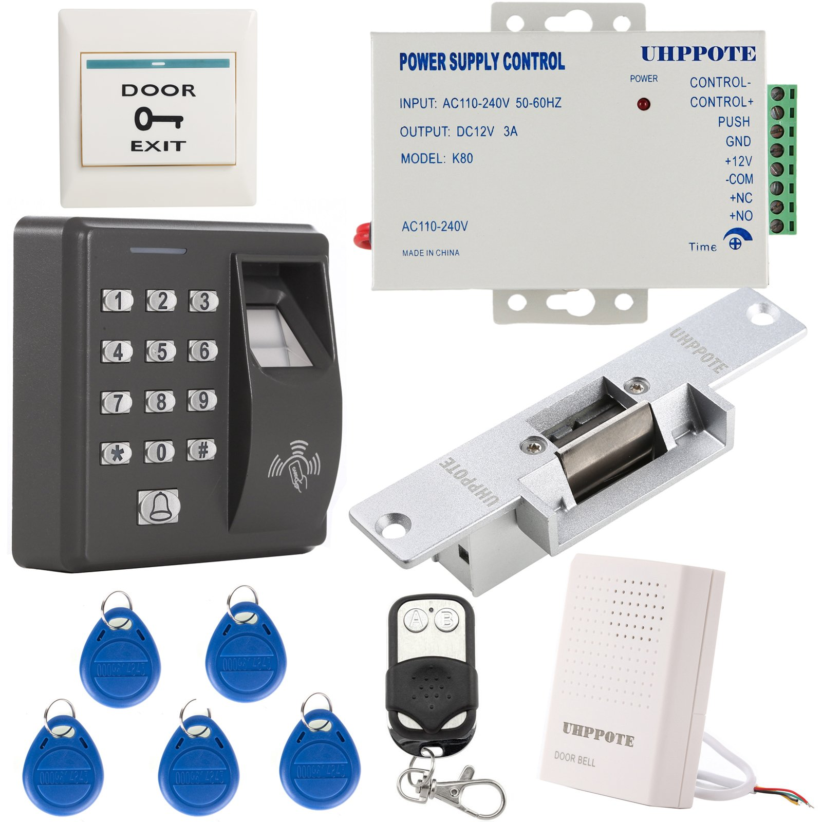 UHPPOTE Fingerprint RFID EM-ID Card Access Control System Kit With NO Strike Lock & Power Supply by UHPPOTE