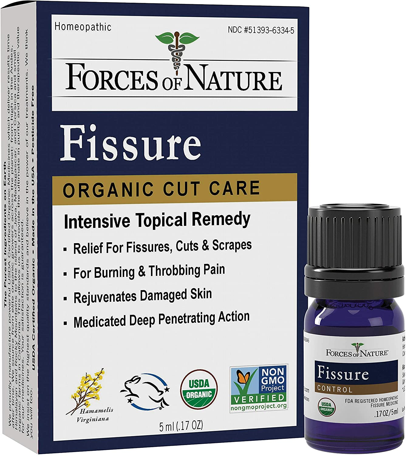Forces Of Nature – Natural, Organic Fissure Care (5ml) Non GMO, No Harmful Chemicals –Soothe & Relieve Burning, Throbbing, Stinging, Itchy, Bleeding Tissue Caused by Fissures or Hemorrhoids