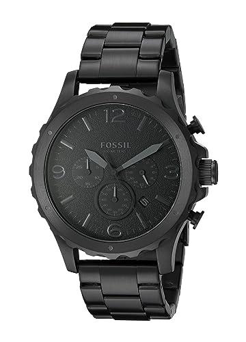 Fósil de hombre jr1470 Nate Cronógrafo Negro Acero inoxidable reloj: Amazon.es: Relojes