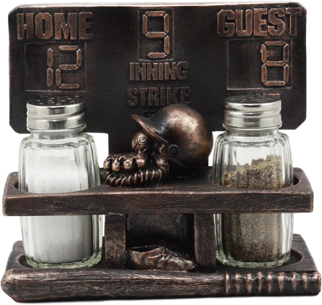 """Ebros Extra Inning Home Run Baseball Scoreboard Salt And Pepper Shakers Holder Figurine Set 5.75""""L With Glass Shakers"""