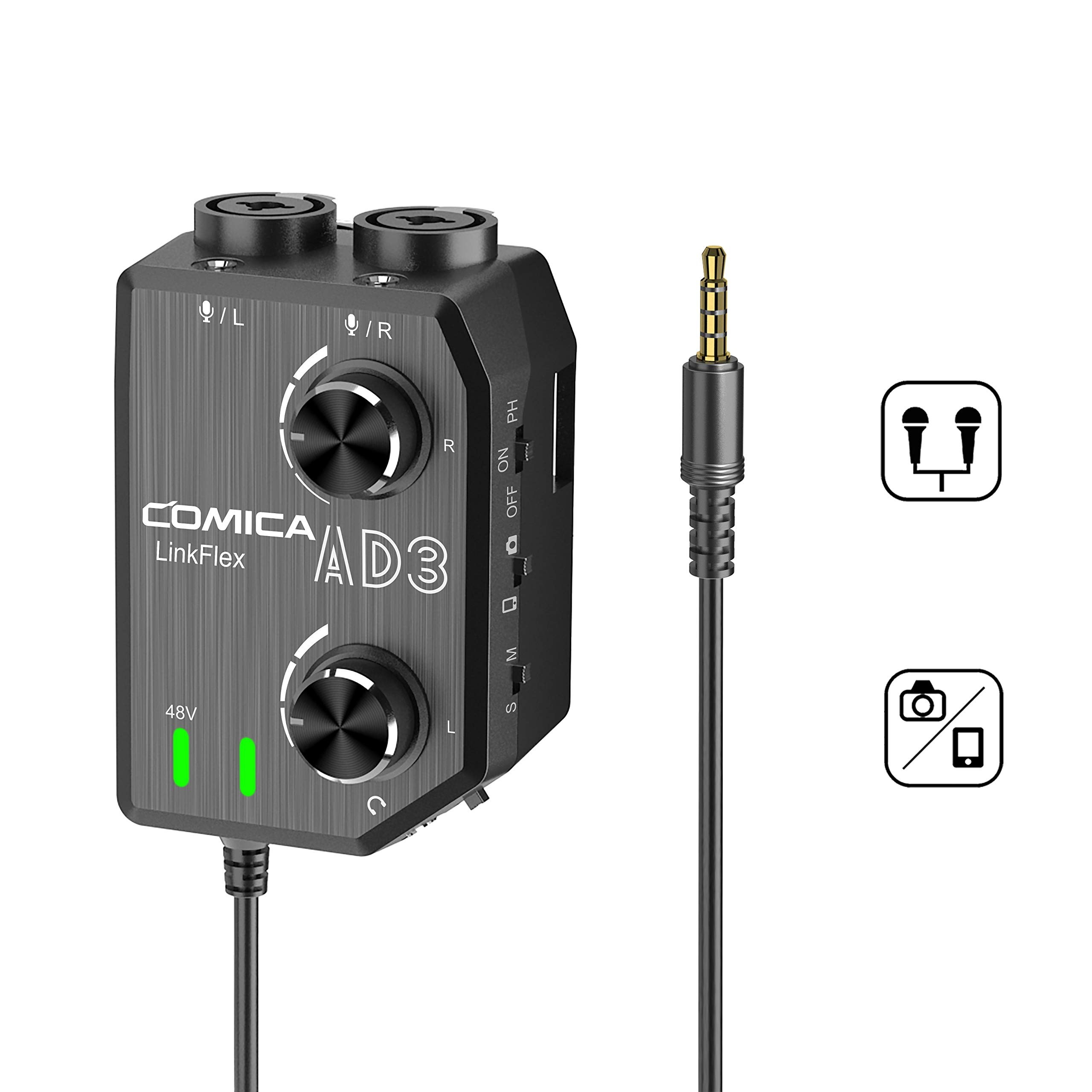 Comica CVM-LINKFLEX.AD3 Audio Preamp/Mixer Two-channels XLR/3.5mm/6.35mm-3.5mm, 48V Phantom Power & Real Time Monitor, Universal Canon Nikon Sony DSLR Cameras &Smartphone by comica