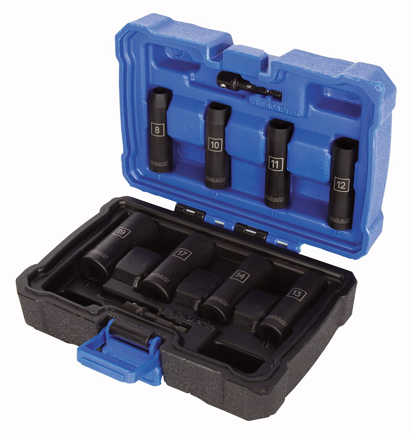 14 11 and 19-mm Sockets 17 12 Metric includes 8 10 13 Kobalt 864581 10-Piece 3//8-Inch Drive 6-Point Deep Impact Socket Set