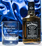 Engraved/Personalised Bubble Based Glass & Jack Daniels 20cl in Silk Gift Box For Birthday/Christmas/Dad