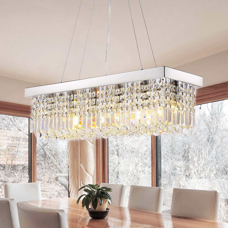 7pm Rectangle K9 Crystal Chandelier Modern Rectangular Pendant Light Fixture For Dining Room Kitchen Island Chrome L31 5 X W10 X H10 Amazon Com