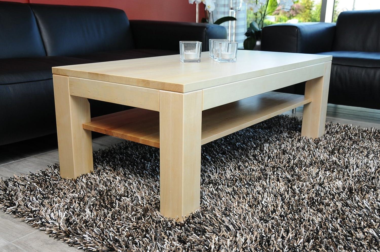 Couchtisch Tisch Mit Ablage Zarge Bundig Ahorn Echtholz Massivholz Hohe 42 Cm 90x60 Amazonde Kuche Haushalt