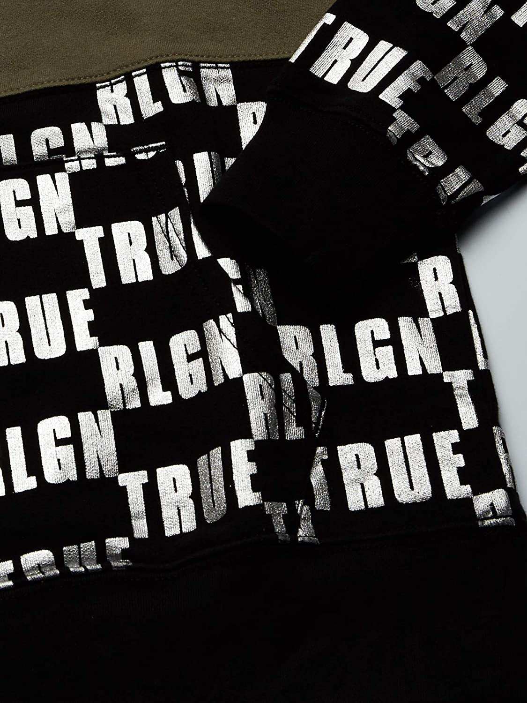 True Religion Men's Monogram Pullover Hoodie Hooded Sweatshirt Black/Militant Green