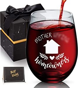 Housewarming Gifts, Homeowner Stemless Wine Glass, Unique House Gifts For New Home Owner - Funny First Time Home Owner Gift Ideas, House Warming Presents For Women Couple, 18 Oz