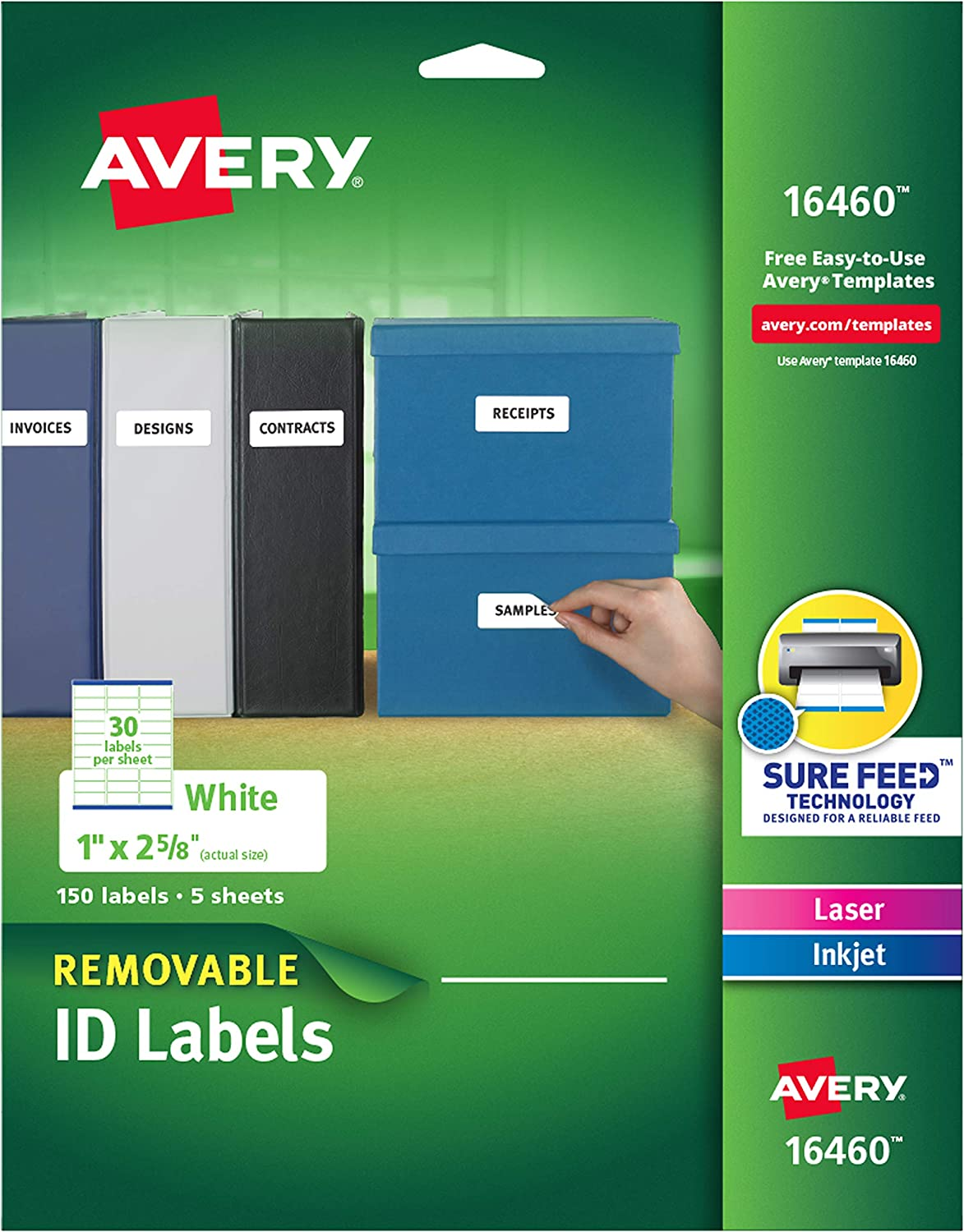 """Avery Removable Multipurpose Labels, 1 x 2.625"""", White, Pack of 150 (16460) : Office Products"""