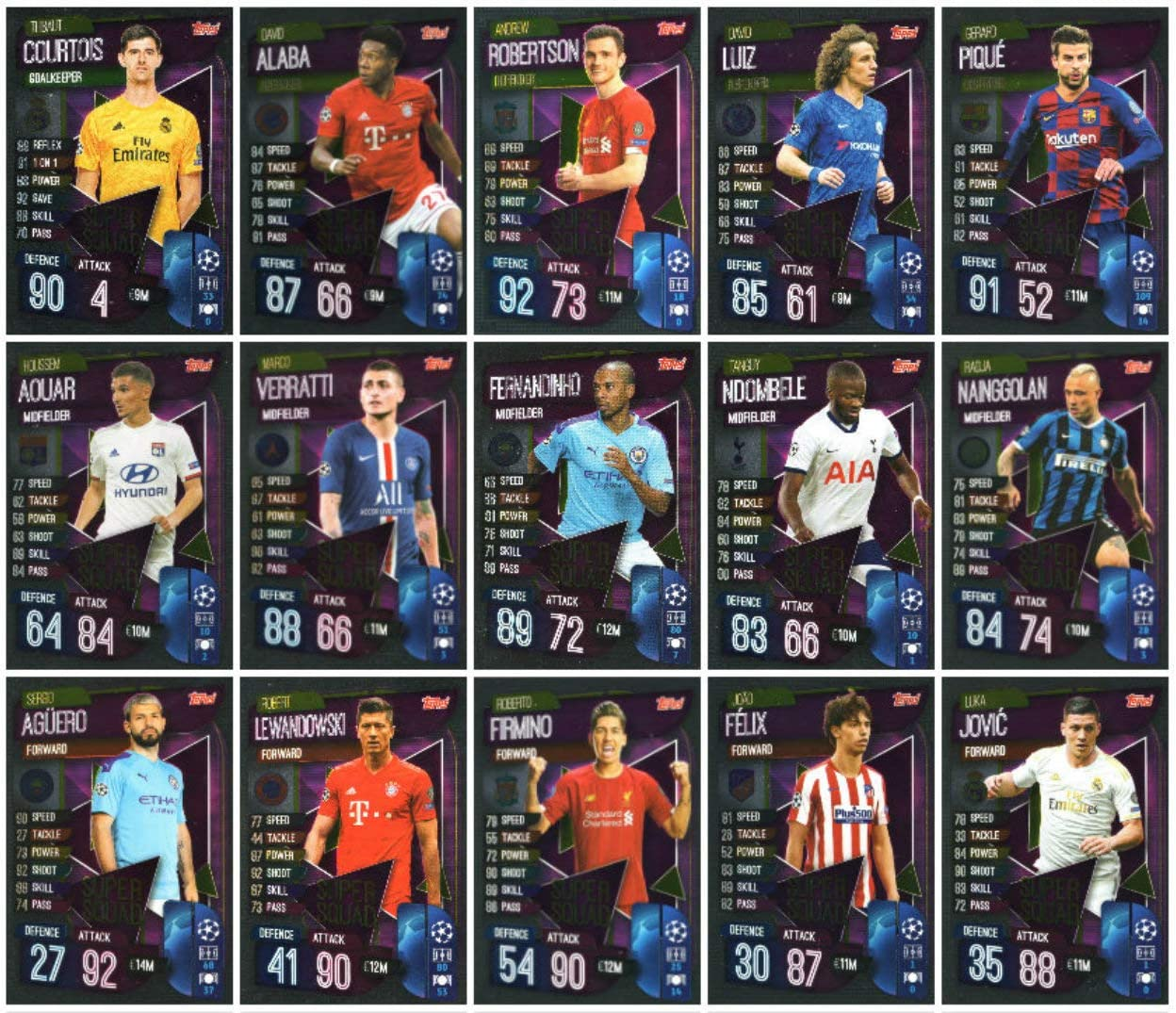 Topps Match Attax EXTRA Ligue des Champions 2019//2020-5 Booster 30 cards