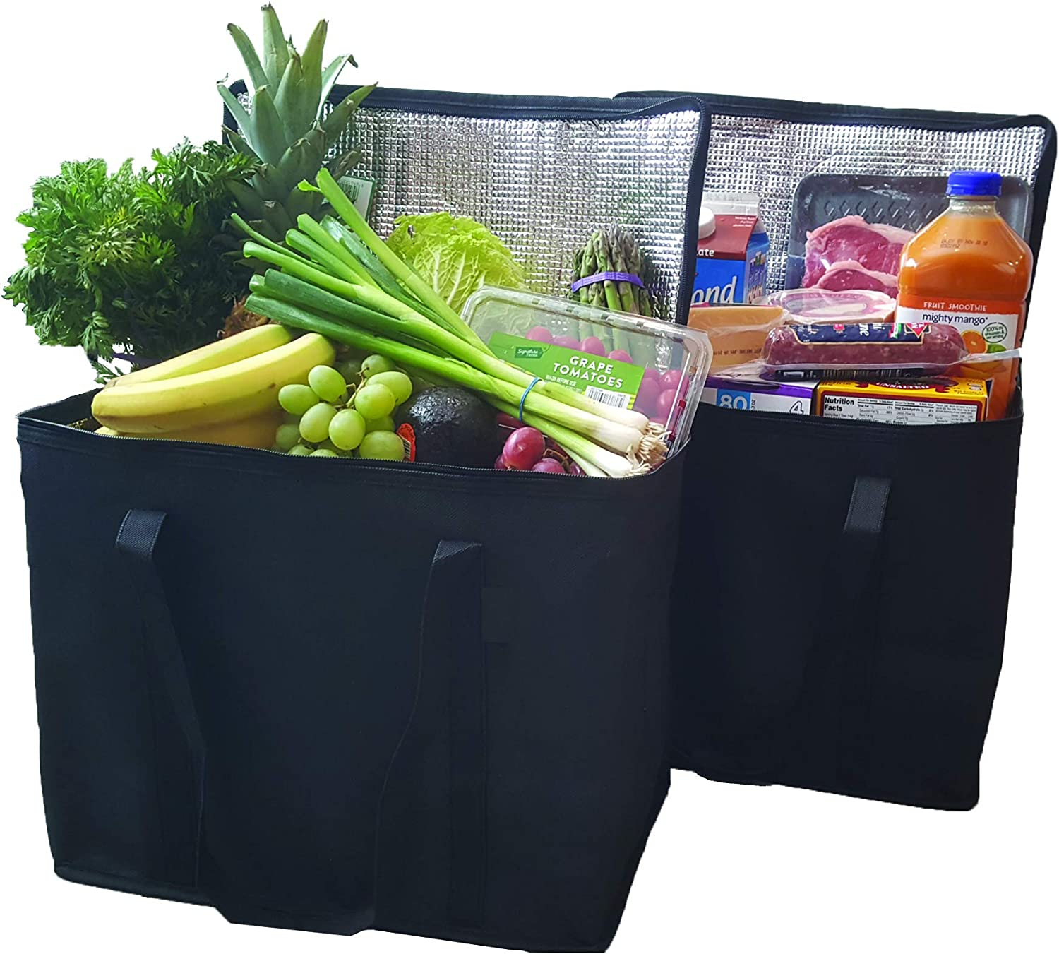 2 Pack Insulated Reusable Grocery Bags by 1 Click, Extra Large, Foldable, Stands Upright, Sturdy Zipper, Washable, Reinforced Handles