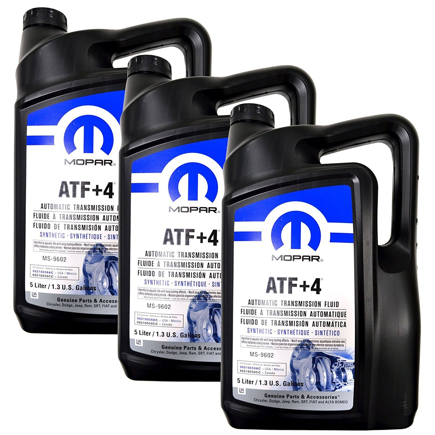 Mopar Automatic Transmission Fluid ATF+4 - 5 Liter (1.3 Gallon) 3 Pack
