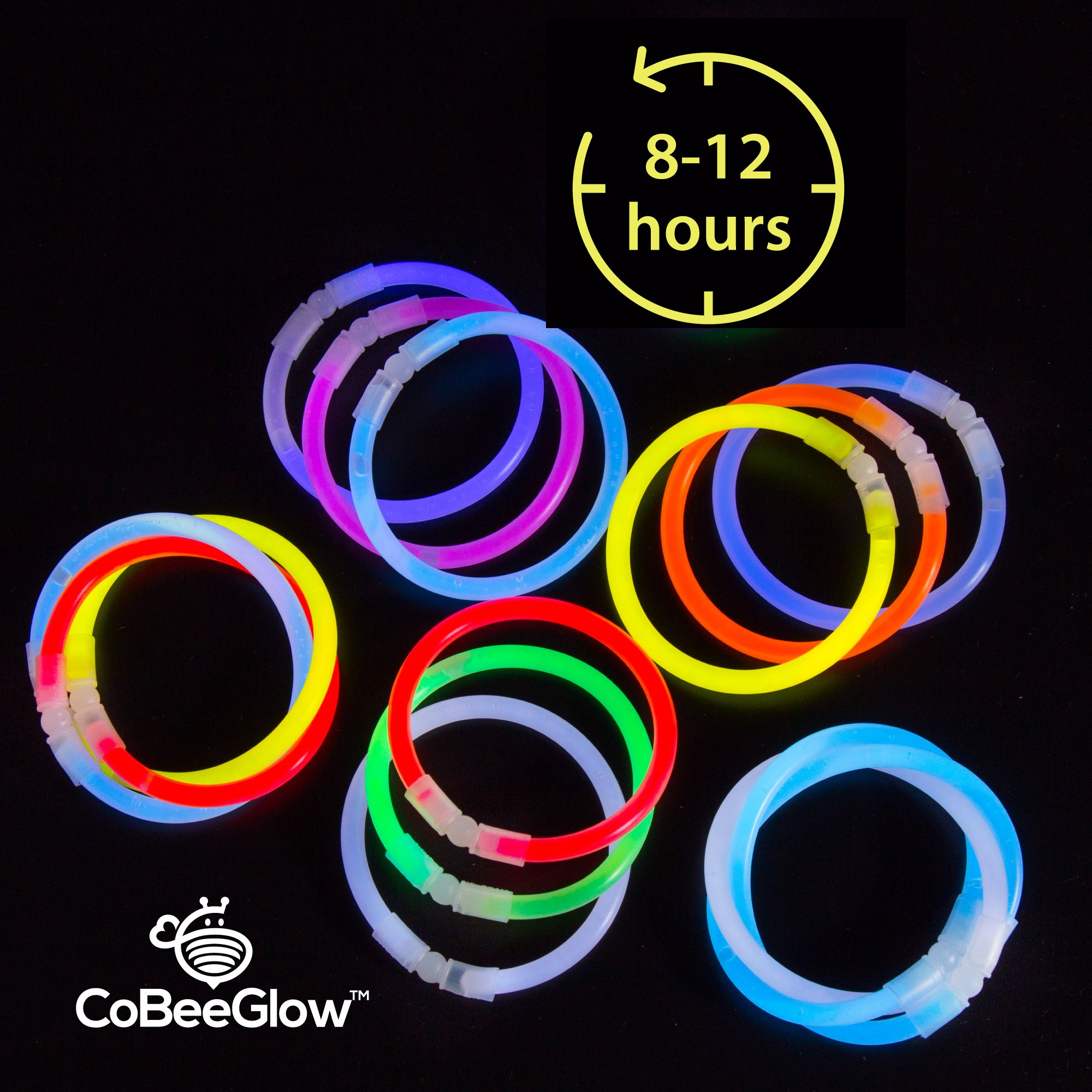Glow Necklaces Bulk Party Supplies - 100 Glow in the Dark Necklaces - 22 Inch Glow Sticks - Extra Bright Neon Glow Necklace - Strong 6mm Thick - 9 Vibrant Neon Colors - Stuffers for Kids - Mix by CoBeeGlow (Image #6)