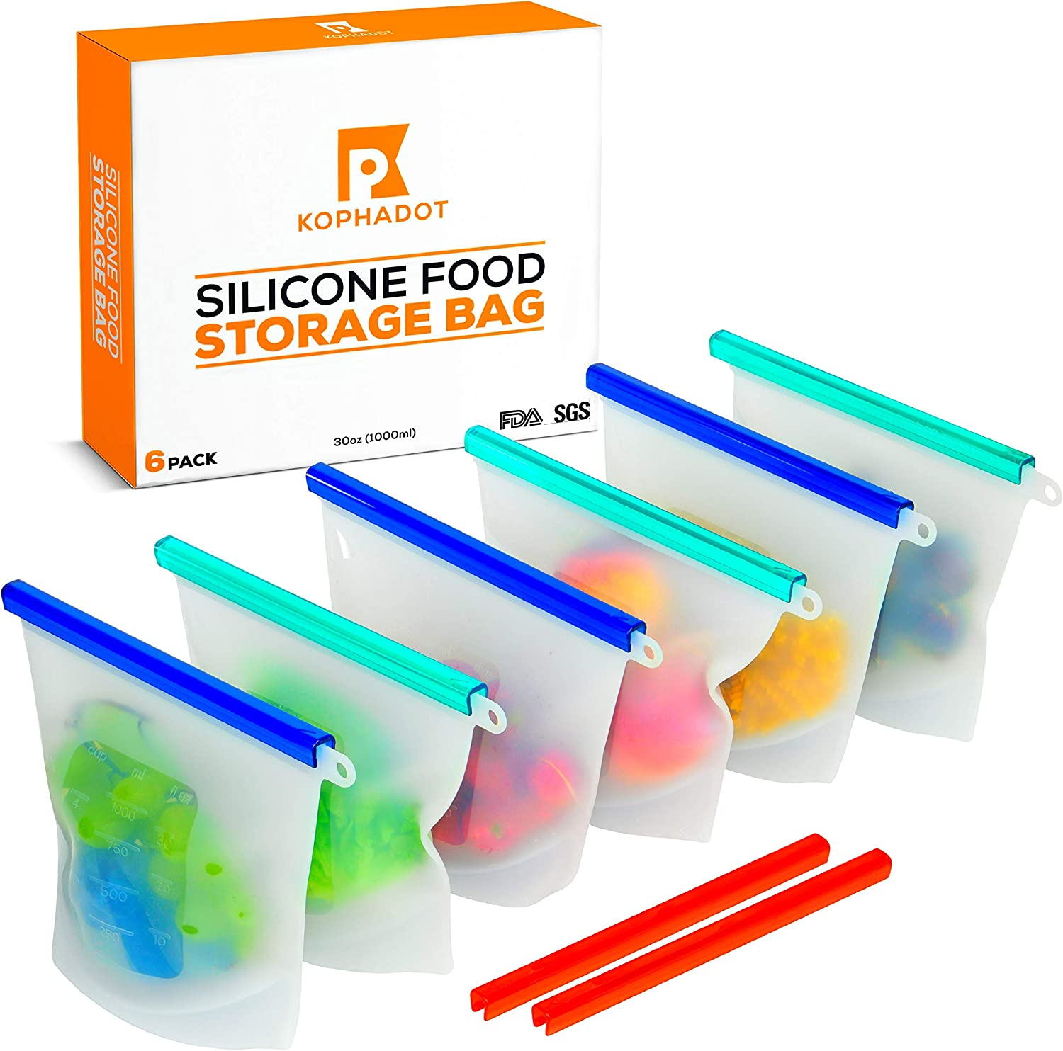 KOPHADOT Reusable Silicone Food Storage Bags - 6 Medium 30oz Transparent Silicone Food Bags & 8 Sealing Caps - Airtight & Leakproof Reusable Sandwich Bags 1000ml Food Preservation Bags