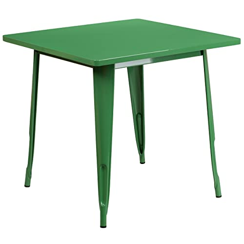 Flash Furniture 31.5 Square Green Metal Indoor-Outdoor Table