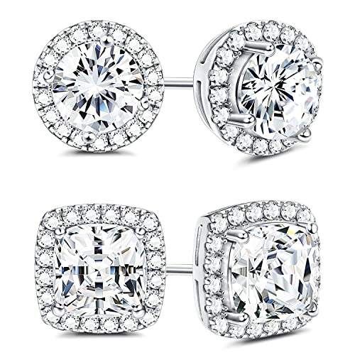 cbf494f08 Amazon.com: Sllaiss 925 Sterling Silver Cubic Zirconia Halo Stud Earrings  for Women Round & Square Cut CZ Earrings Set: Jewelry