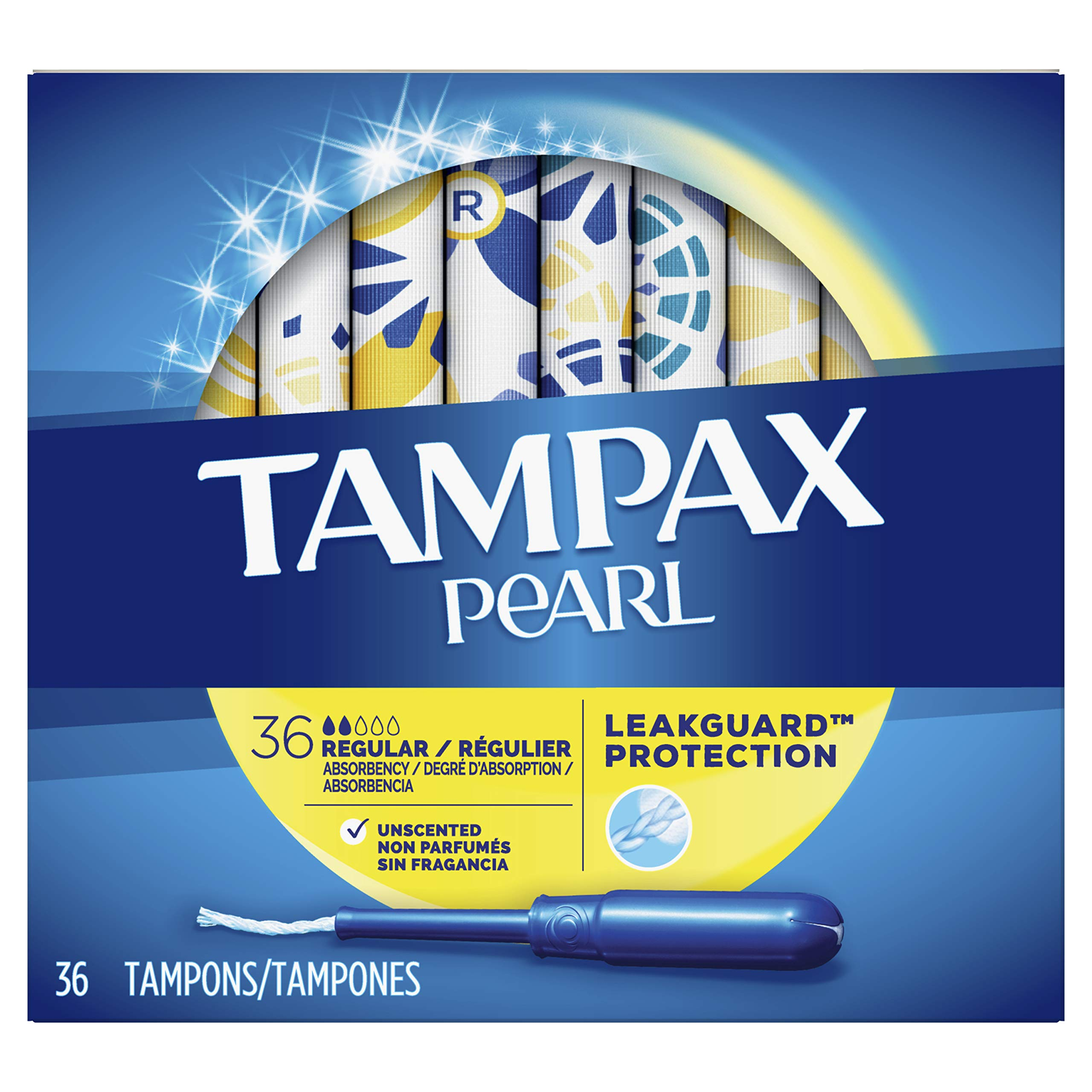 Tampax Pearl Tampons with Plastic Applicator, Regular Absorbency, Unscented, 36 Count