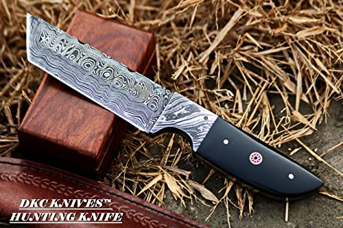 DKC-524-DS Tanto Sky Damascus Hunting Knife 10 Long 10 oz Black Handle 5 Blade