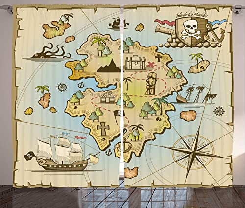 Ambesonne Island Map Curtain