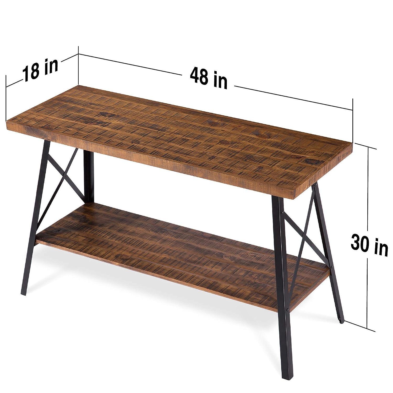 Rustic Brown Olee Sleep VC18TB09S Solid Wood Storage Shelf Coffee Table