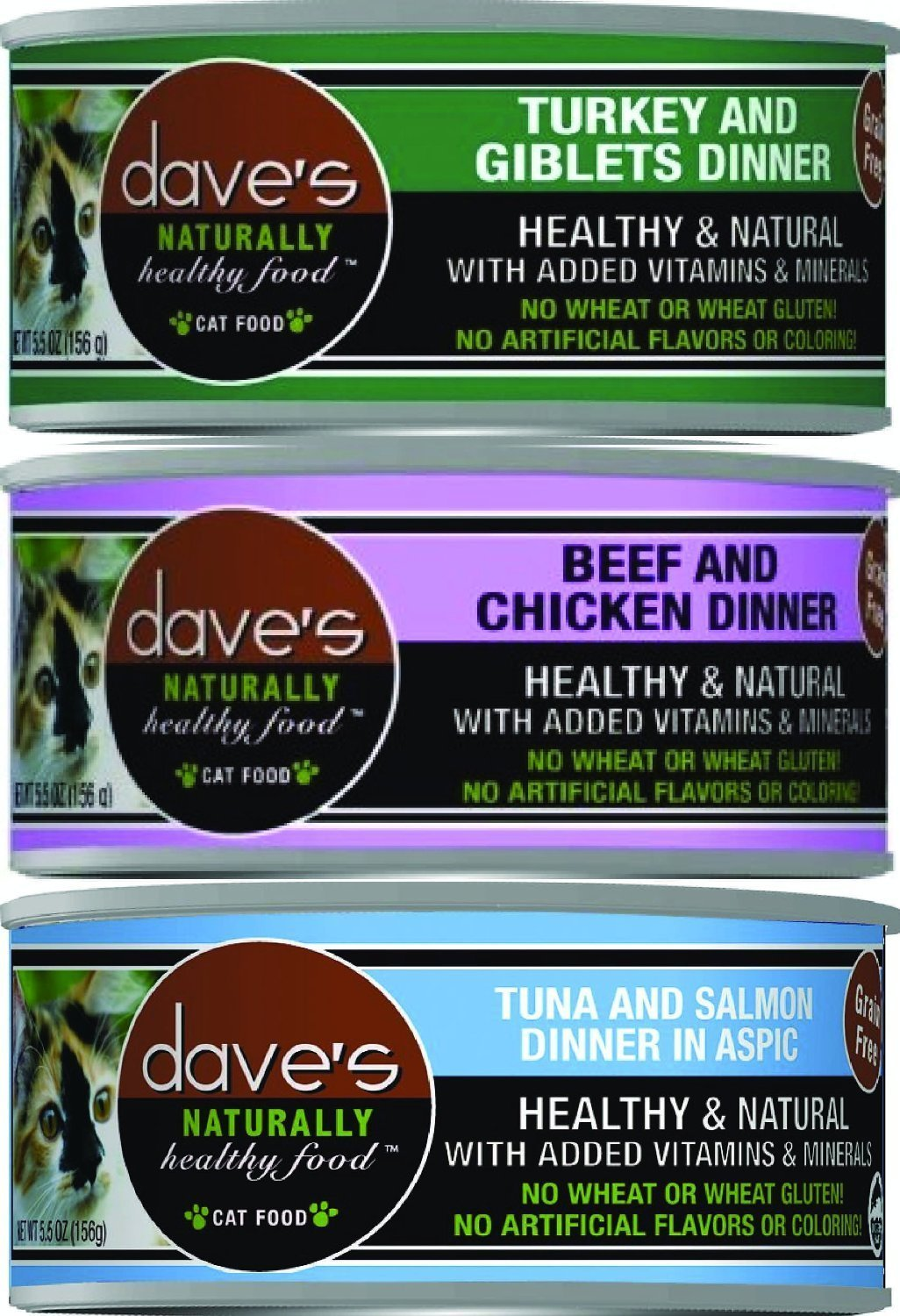 (24 Pack) Dave's Pet Food Naturally Healthy Grain-Free Canned Cat Food Mixed Tuna and Salmon, Beef and Chicken, Turkey and Giblets 5.5 Ounces Each by Dave's Gourmet