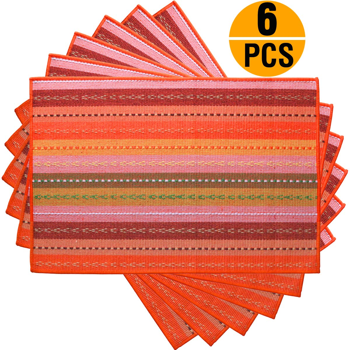 Tea Talent Everyday Kitchen Basic Cotton Placemats Woven Braided Ribbed Washable Dining Table Mats for Dinner Parties Picnics, 18'' x 12'', Set of 6 - Orange