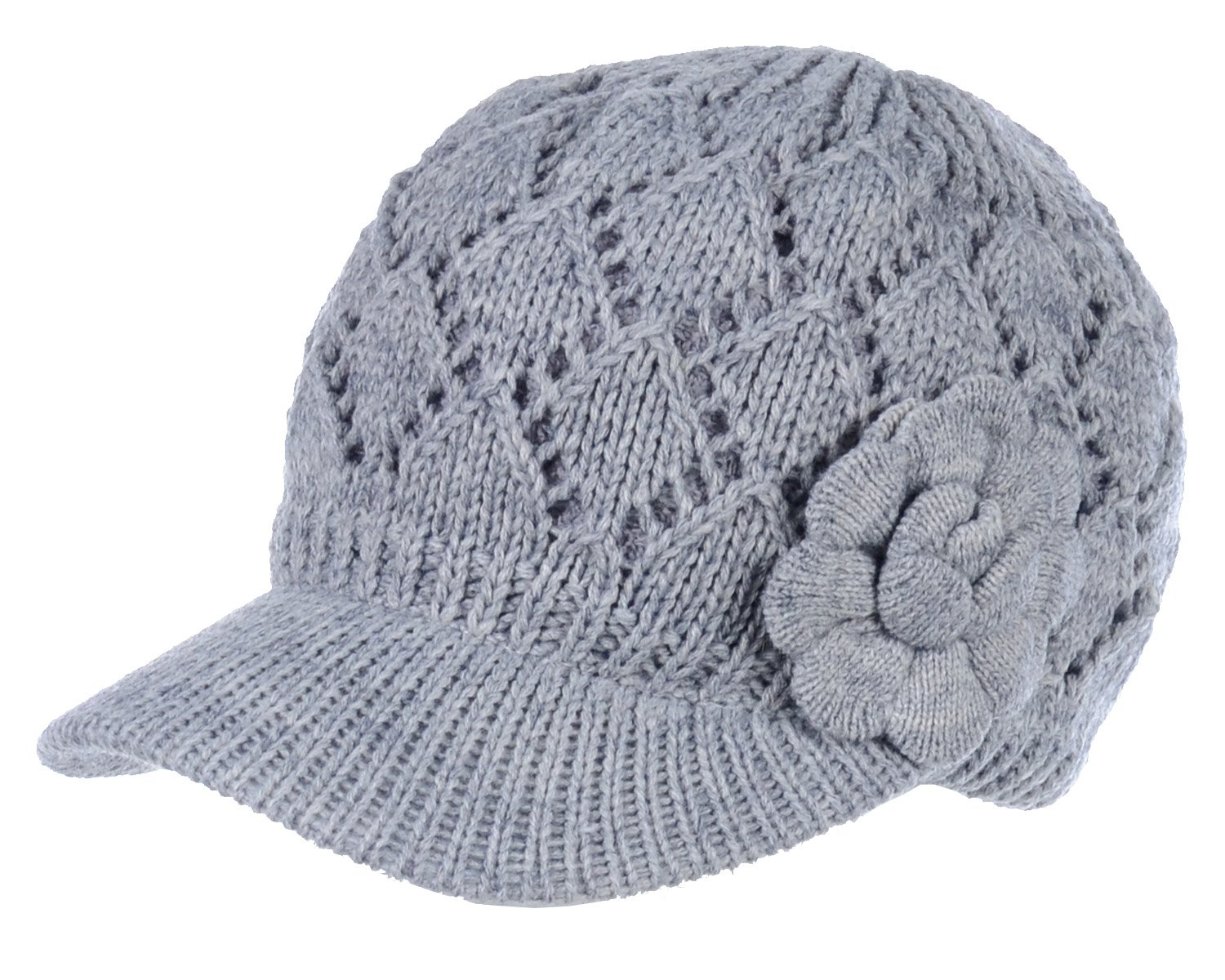 Be Your Own Style BYOS Womens Winter Chic Cable Knitted newsboy Cabbie Cap Beret Beanie Hat With Visor, Warm Plush Fleece Lined, Many (Diamond Pattern w/Flower Gray)