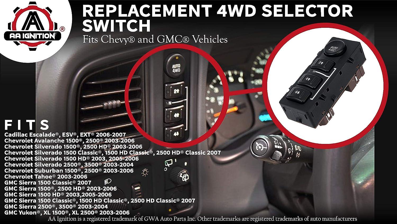 4wd Switch 4x4 Transfer Case Button Replaces 15136039 Chevy Avalanche 15164520 19259313 901 072 Fits Silverado Chevrolet Suburban