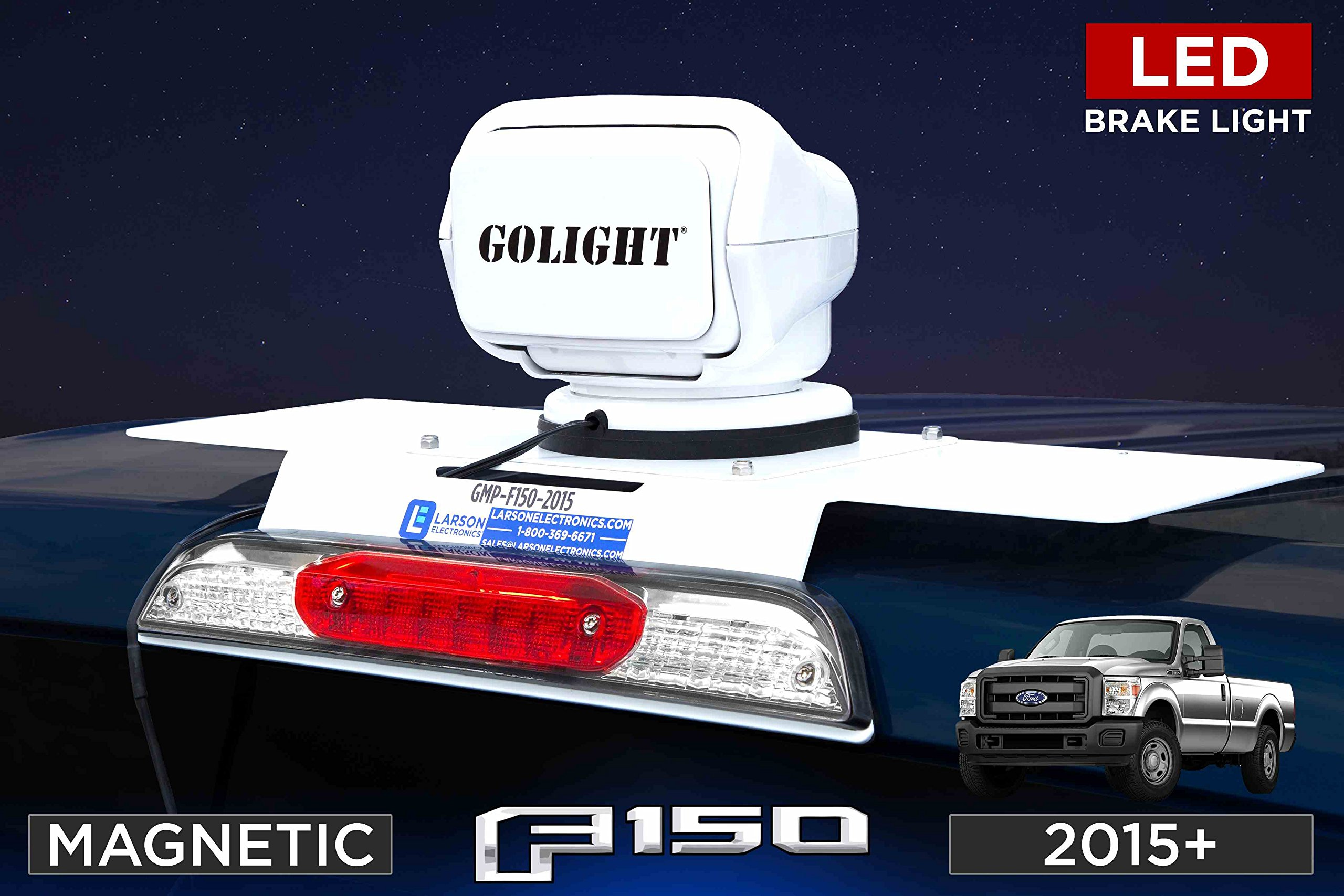 2015+ Ford F150 Aluminum Body Truck Golight Magnetic Mounting Plate w/ LED Brake Lights - No Drill