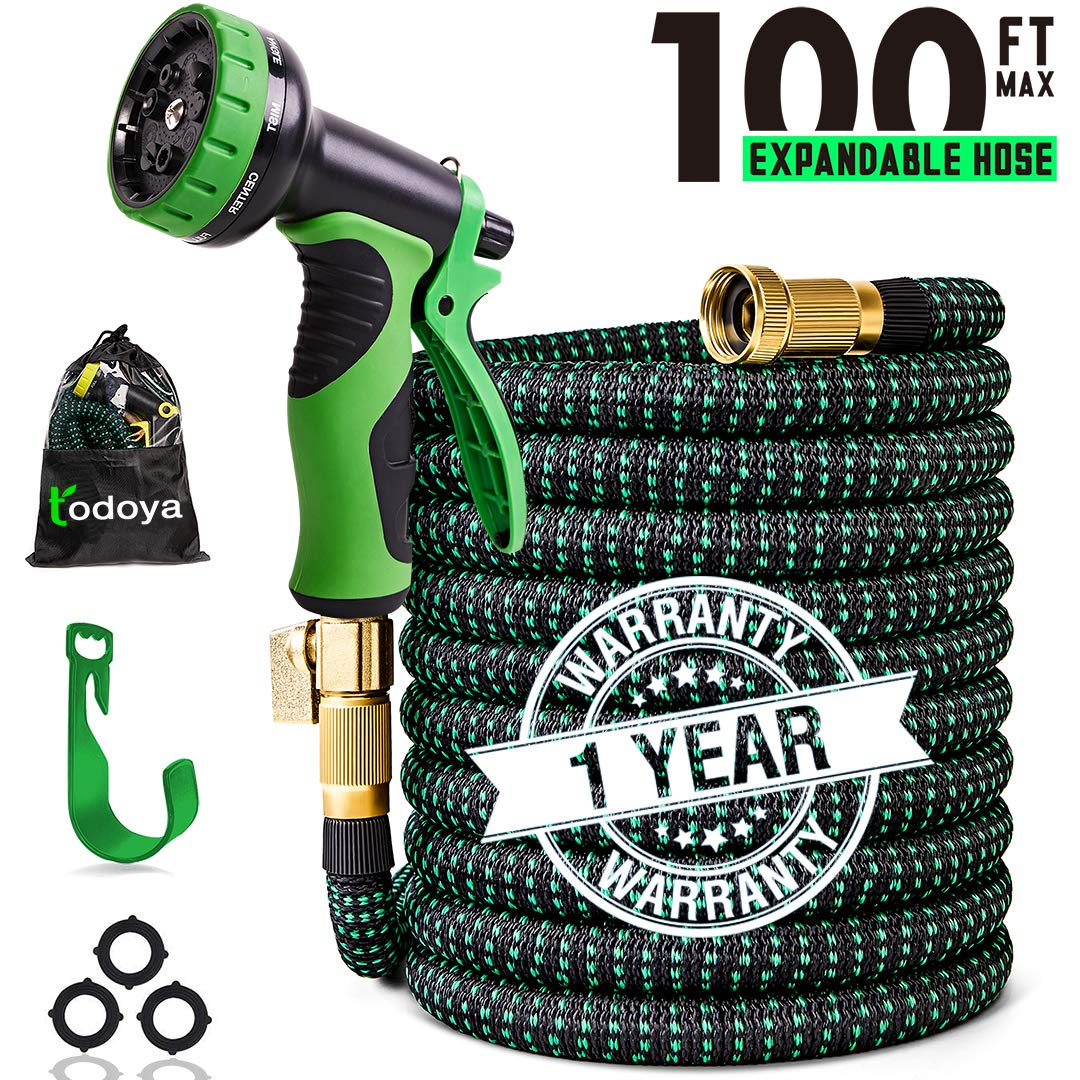 100 ft Expandable Garden Hose,100 Feet Leakproof Lightweight Garden Water Hose with Spray Nozzle,Superior Strength 3750D Expanding Garden Hoses,Durable Outdoor Gardening Flexible Hose for Watering 81tNES-QUcL