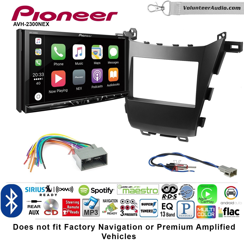 Volunteer Audio Pioneer AVH-2300NEX Double Din Radio Install Kit with Apple CarPlay Android Auto Bluetooth Fits 2013-2016 Honda Accord