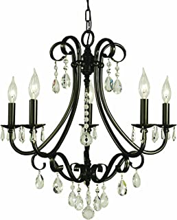"product image for Framburg 2995 MB Liebestraum 5-Light Chandelier with Clear Crystal Accents, 23"" x 23"" x 23"", Mahogany Bronze"