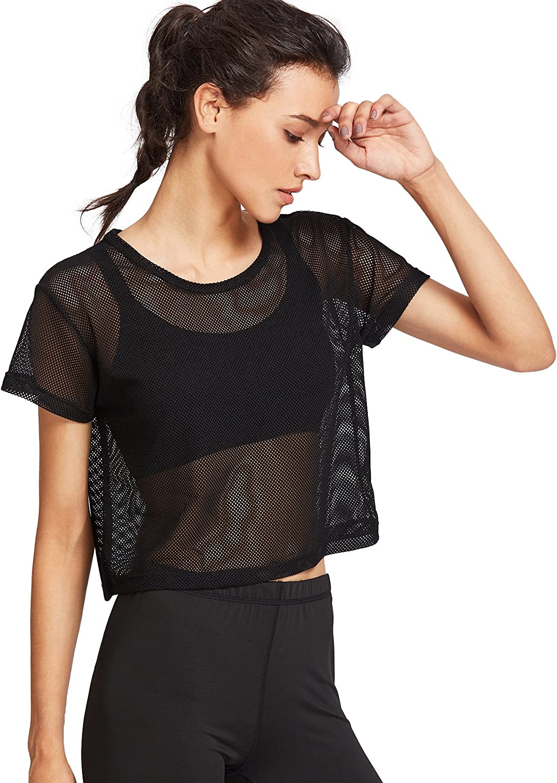 Womens mesh cotton crop top summer vest short sleeves net black white fishnet