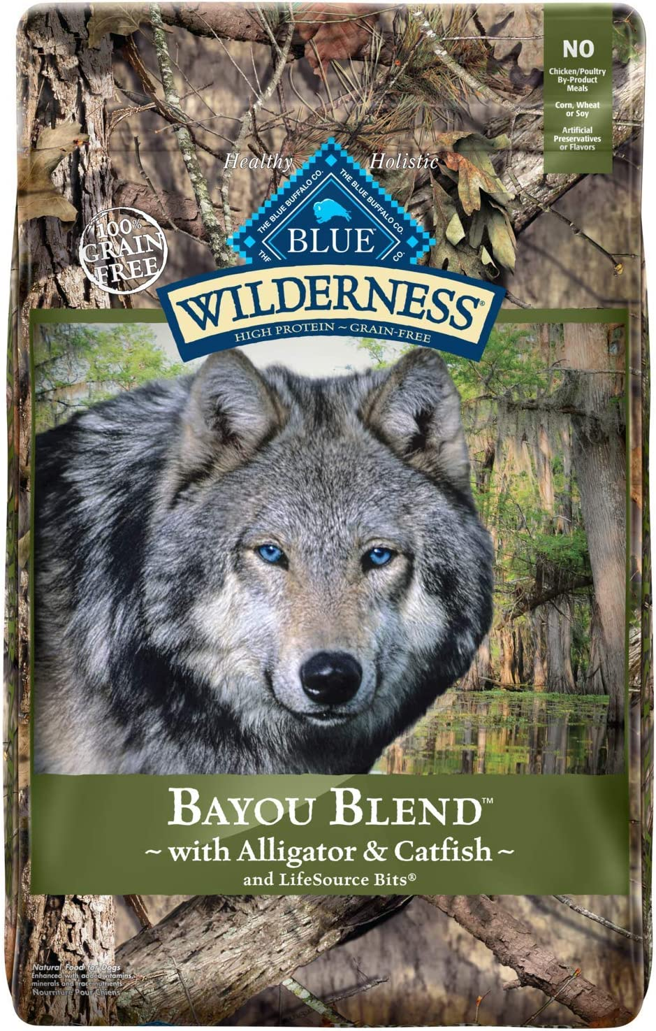 Blue Buffalo Wilderness Bayou Blend High Protein Grain Free, Natural Dry Dog Food with Alligator Catfish