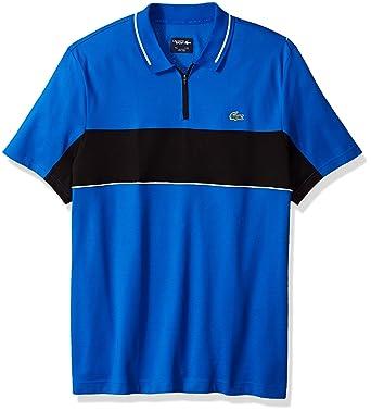 e65c2345 Lacoste Men's Short Sleeve Colorblock Zip Golf Polo, Blue Royal/Black/White,