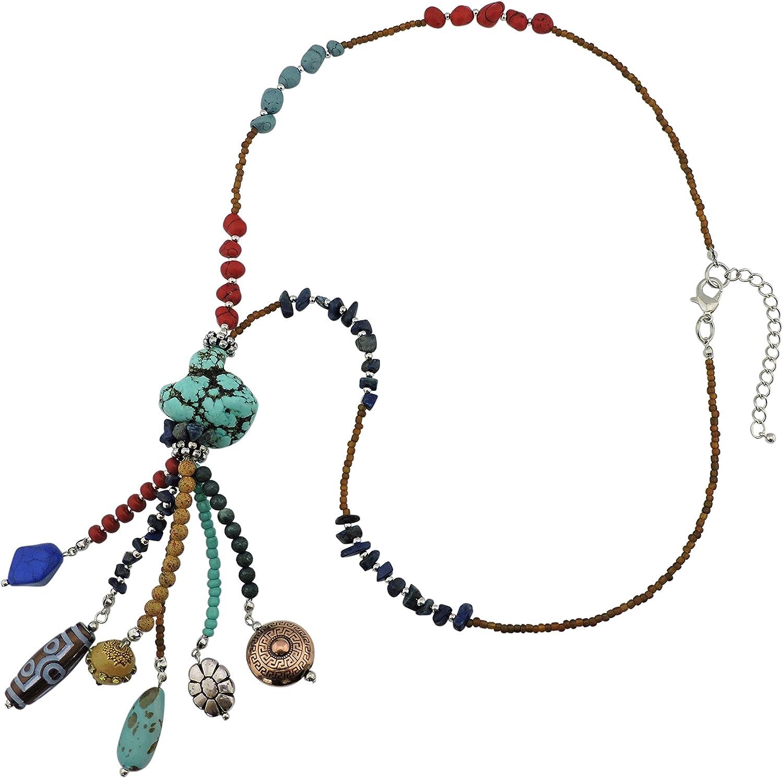Bocar - Collar de Cuentas largas con Colgante de Turquesa para Mujer, Color Turquesa con Borla