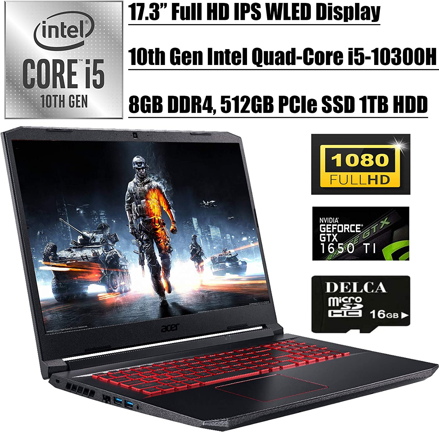 "Acer Nitro 5 2020 Flagship Gaming Laptop I 17.3"" FHD IPS WLED I Intel Quad-Core i5-10300H (>i7-8850H) I 8GB DDR4 512GB PCIe SSD 1TB HDD I 4GB GTX 1650Ti Backlit KB Win 10 + Delca 16GB Micro SD Card"