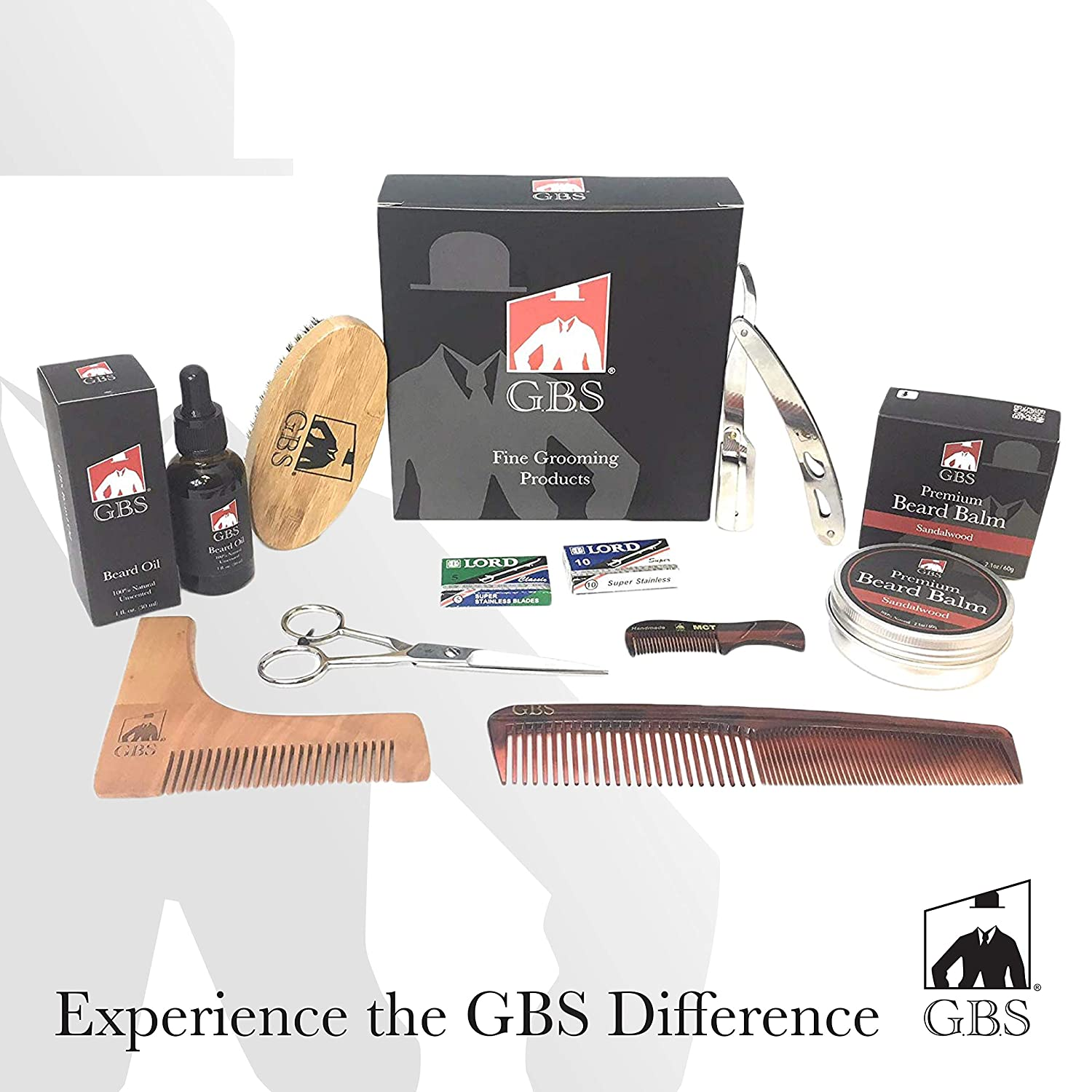 GBS Ultimate Shape and Style Beard Grooming Kit- 7Piece- Unscented Beard Oil Boar Bristle Brush Template comb Dressing Comb Shavette Razor Mustache Comb + 10 Blades!