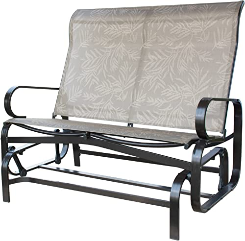 PatioPost Outdoor 2 Seat Loveseat Glider Bench ChairTextilene Mesh Fabric Superior Aluminum Frame Grey Mocha Grey