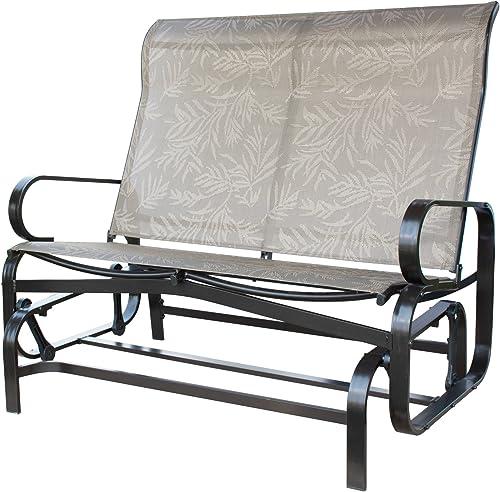 PatioPost Outdoor 2 Seat Loveseat Glider Bench ChairTextilene Mesh Fabric Superior Aluminum Frame Grey Mocha Grey
