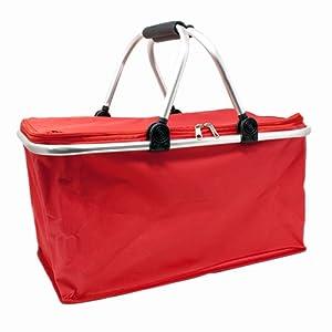 ToCi Haushalt Panier de courses pliable Shopper d'épicerie Carrybag Panier pliant en aluminium Panier cabas sac de transport – Contenance : 26 l Rot