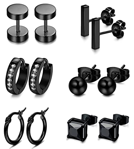 9d9d7a520 FIBO STEEL 6 Pairs Stainless Steel Black CZ Stud Earrings for Men Women  Huggie Hoop Earring