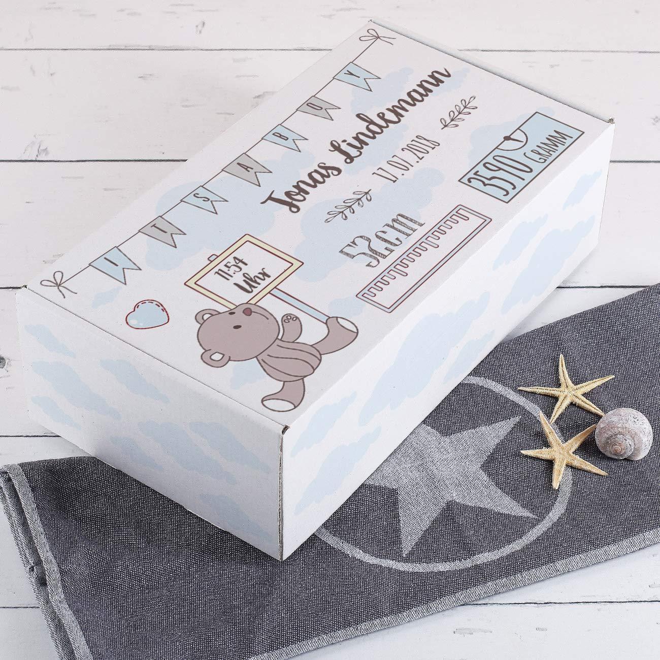 als Geschenkverpackung oder Erinnierungsbox Blau Striefchen/® personalisierter Karton zur Geburt mit Daten des Kindes bedruckt