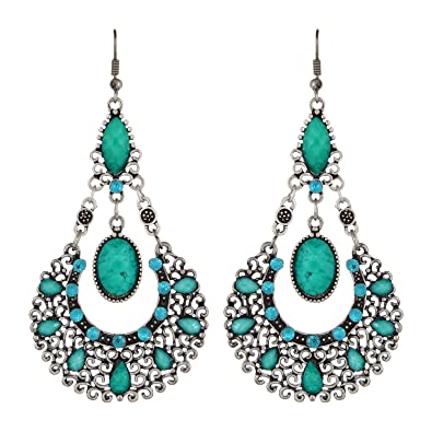 Buy fayon weekend party antique silver turquoise chandelier fayon weekend party antique silver turquoise chandelier earrings aloadofball Choice Image