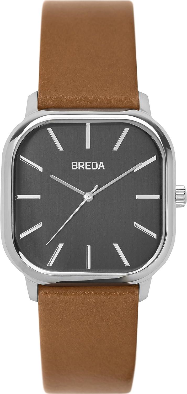 BREDA Men s Visser 1728a Silver and Black Leather Strap Watch, 35MM