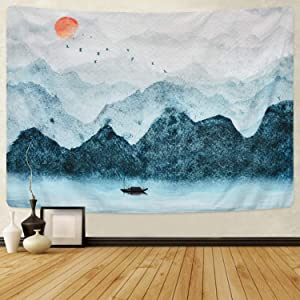 Likiyol Foggy Mountain Tapestry Sunset Birds Boat Lake Tapestry Watercolor Nature Landscape Tapestries Wall Hanging for Room (Grey, 59.1 x 82.7 inches)