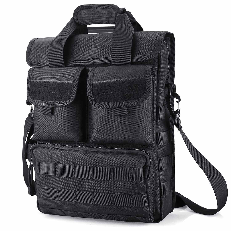 DYJタクティカルブリーフケース財布MOLLEバッグエンジニアバッグハンドバッグMilitary Sling Shoulder Bag Heavy Duty with Shoulderストラップ、複数のポーチ&コンパートメント B01EMGQJFM Black (Large)